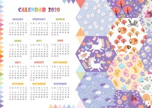 Cute Calendar For 2020 Year. W...