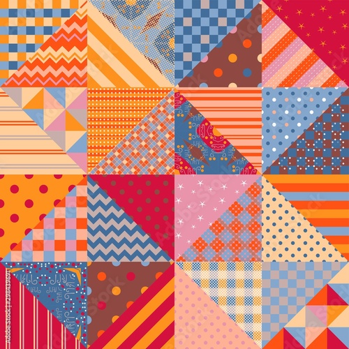 Leinwand Poster Seamless patchwork pattern with multicolor geometric ornaments