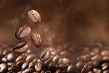 Roasted Coffee Beans On Grey B...