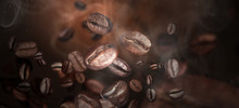 Roasted Coffee Beans On Grey Background, Closeup