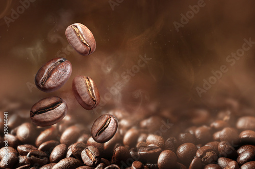 Roasted coffee beans on grey background, closeup - 298440441