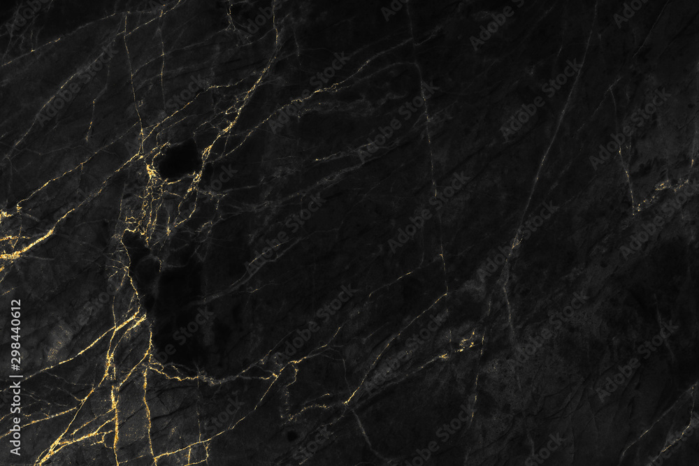 Fototapeta Black and gold marble texture design for cover book or brochure, poster, wallpaper background or realistic business and design artwork.