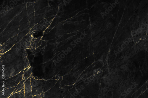 Fotografia  Black and gold marble texture design for cover book or brochure, poster, wallpaper background or realistic business and design artwork