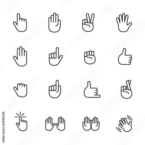 Fotografie, Obraz Vector set of hand line icons.