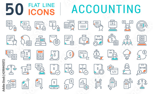 Fotomural  Set Vector Line Icons of Accounting