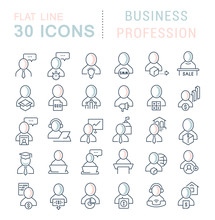 Collection Linear Icons Of Business Profession