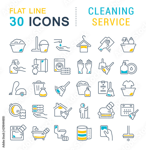 Carta da parati  Collection Linear Icons of Cleaning Service