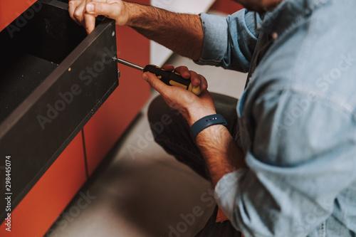 Fototapety, obrazy: Fixing wood shelf with turn-screw stock photo
