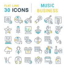 Set Vector Line Icons Of Music...