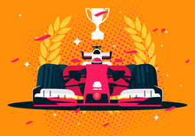 Vector Illustration Of A Car Formula Race Car Winner With A Wreath And A Trophy, Confetti For The Winner, The Champion Of Racing