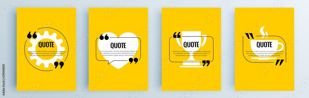 Fototapeta Quote frames blank templates set. Text in brackets, citation empty speech bubbles, quote bubbles. Textbox isolated on color background. Vector illustration.