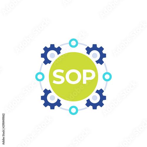 SOP icon, Standard Operating Procedure, flat vector Wallpaper Mural