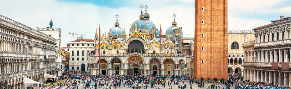 Fototapety, obrazy: San Marco Square in Venice, Italy. St Mark's Basilica in the center. It is a top landmark of Venice. Panorama of famous tourist place in Venice city and Europe. Renaissance architecture of Venice.