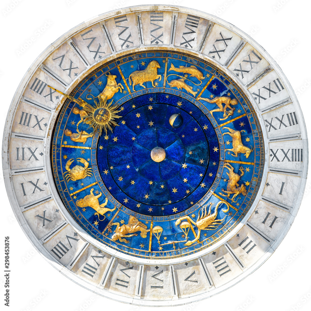 Fototapety, obrazy: Ancient clock Torre dell'Orologio isolated on white, Venice, Italy. Medieval mechanism with Zodiac wheel and signs. Old golden symbols of astrology on star circle. Concept of horoscope and time.