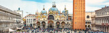 San Marco Square in Venice, Italy. St Mark's Basilica in the center. It is a top landmark of Venice. Panorama of famous tourist place in Venice city and Europe. Renaissance architecture of Venice.