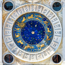 Ancient Clock Torre Dell'Orologio With Zodiac Signs, Venice, Italy. Medieval Mechanism And Astrology Symbols In San Marco Square Close-up.