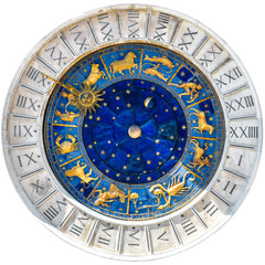 Ancient clock Torre dell'Orologio isolated on white, Venice, Italy. Medieval mechanism with Zodiac wheel and signs. Old golden symbols of astrology on star circle. Concept of horoscope and time.