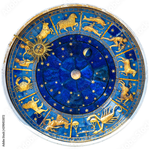 Leinwand Poster Zodiac wheel and signs of medieval mechanism, isolated on white