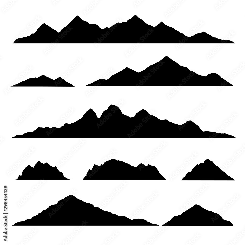 Mountain silhouette. Isolated set elements mountain landscape. Vector illustration.