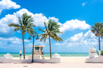 Seafront with lifeguard hut in Fort Lauderdale Florida, USA