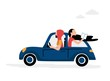 Man and woman riding in the car. Flat style. Vector