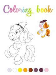 Cute cartoon smiling pony coloring book page