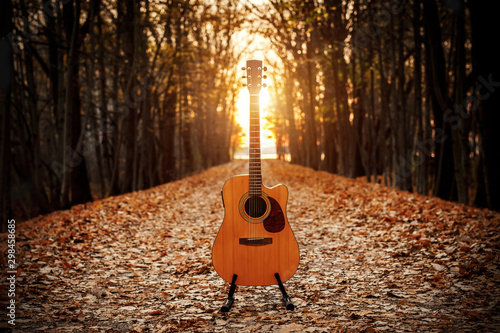 Acoustic guitar in the autumn forest. - 298458685