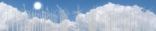Wind Turbines Farm, Sky. 3D Re...