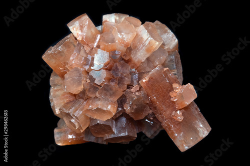 Aragonite mineral from Morocco isolated on a pure black background Wallpaper Mural