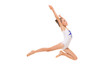 Leinwanddruck Bild - girl gymnast in white trico in full height performs in a white jump isolated on a white background
