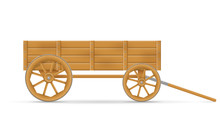 Wooden Cart For Horse Vector Illustration