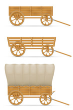 Wooden Cart For Horse Vector I...