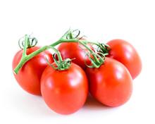 Studio Shot Organic Five On Vine Ripened Roma Tomatoes Isolated On White Background