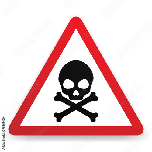 Danger warning sign with skull symbol. Принти на полотні