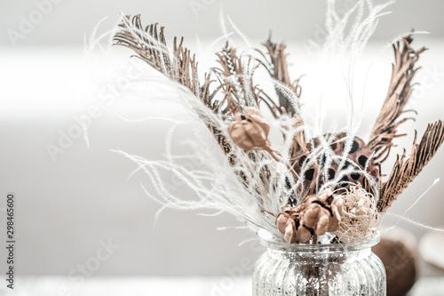 Fototapeta Still life beautiful vase with dried flowers . obraz