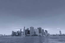 Skyline Of Lower Manhattan View From Ferry