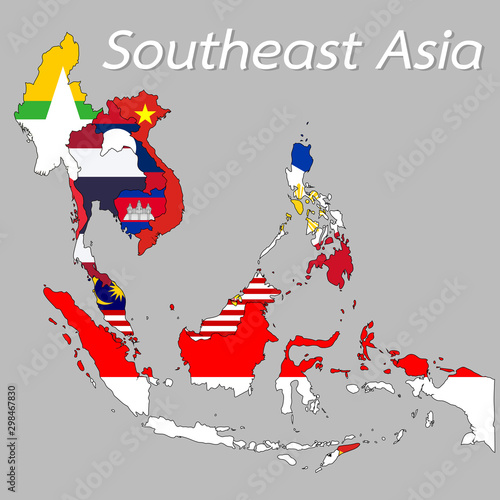 Foto Southeast Asia map Displayed as the national flag of each country
