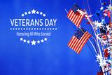 Fototapeta Kawa jest smaczna - Veterans day message with flag of the United States