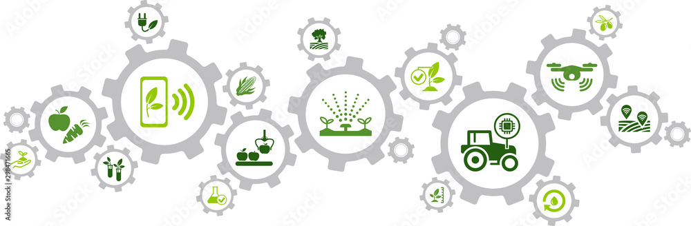 Fototapeta smart farm / agriculture technology / agritech icon concept – vector illustration