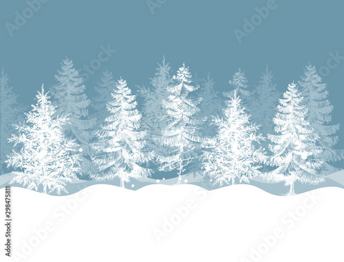 Foto auf Gartenposter Weiß Christmas winter background. Pine trees forest landscape