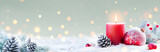 Advent - Red Candle And Christmas Decoration On Snow
