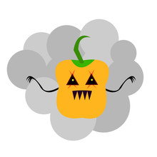Ghost Pumpkin On A Gray Smoke Background