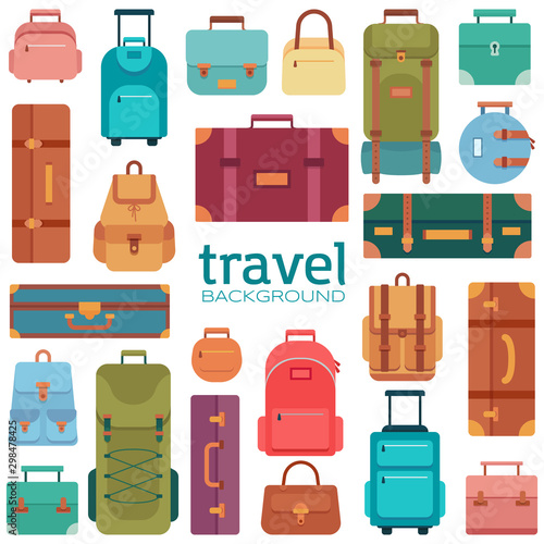 Set of suitcases icons in flat style. Travel bags. Tapéta, Fotótapéta
