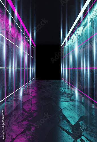 Empty background scene. Dark street reflection on wet asphalt. Rays of neon light in the dark, neon shapes, smoke. Background of an empty stage show. Abstract dark background. - 298486273