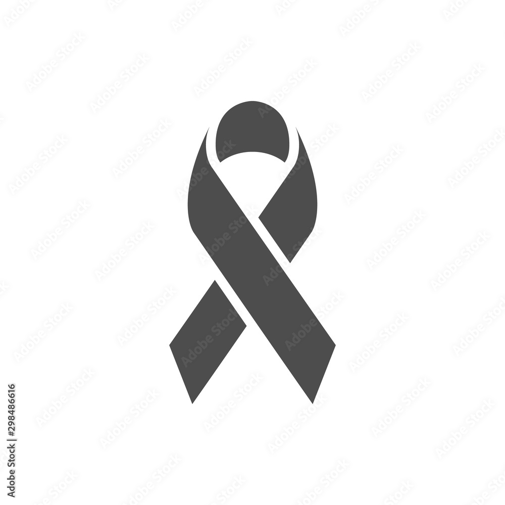 Fototapeta Awareness ribbon glyph icon and breast cancer sign