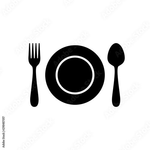 Fototapeta Set of cutlery with spoon, fork, dish obraz