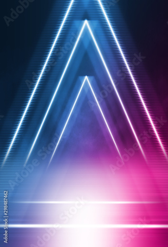 Empty background scene. Dark street reflection on wet asphalt. Rays of neon light in the dark, neon shapes, smoke. Background of an empty stage show. Abstract dark background. - 298487462