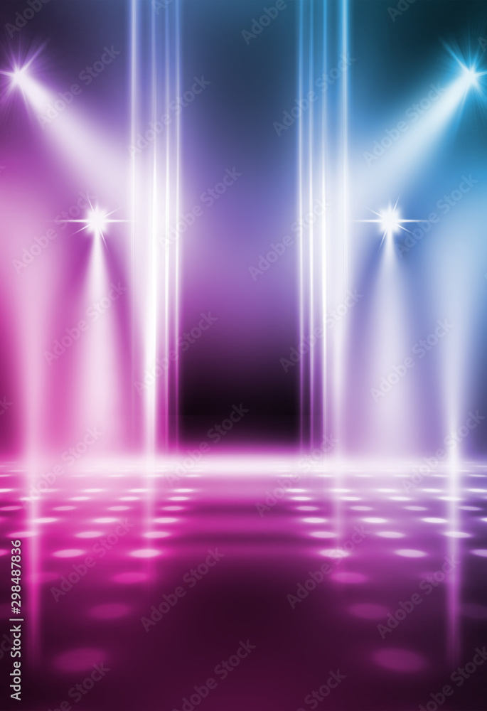 Fototapety, obrazy: Empty background scene. Dark street reflection on wet asphalt. Rays of neon light in the dark, neon shapes, smoke. Background of an empty stage show. Abstract dark background.