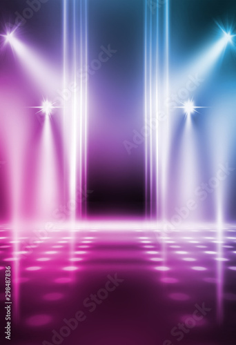 Empty background scene. Dark street reflection on wet asphalt. Rays of neon light in the dark, neon shapes, smoke. Background of an empty stage show. Abstract dark background. - 298487836