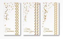 Three Greeting Posters Merry Christmas And Happy New Year. Greeting Card With Streamer And Golden Confetti. On A White Background Vector